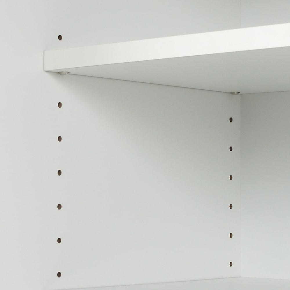 薄型シンプルモダンダイニングボードシリーズ 上置き 幅60cm 可動収納棚板は差し込み式ダボにより固定。  可動棚板は3cm間隔での調節が可能です。
