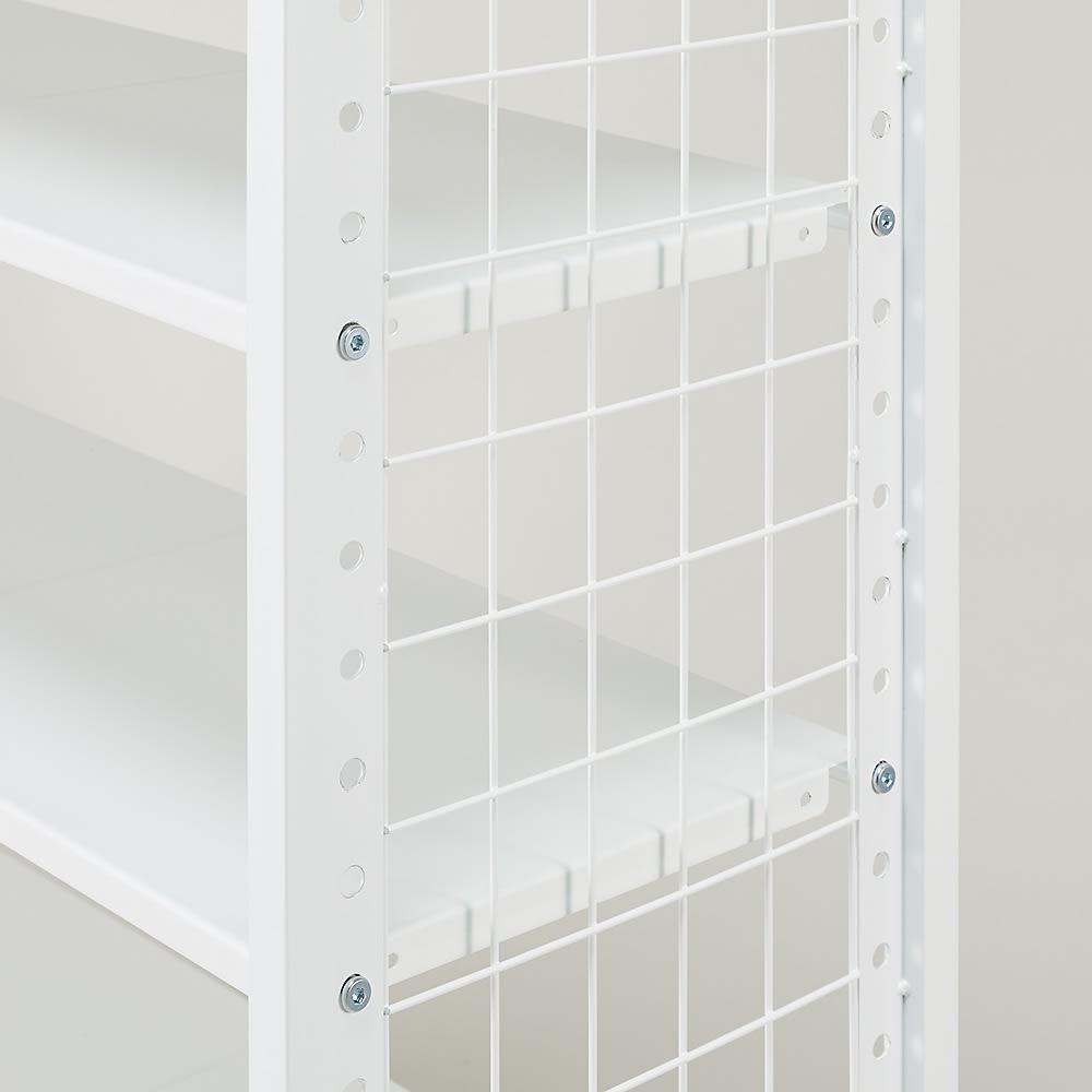 幅・高さ伸縮!スチールローラック(棚4枚・幅伸縮91~119cm) 棚板は3.5cm間隔で移動することができます。