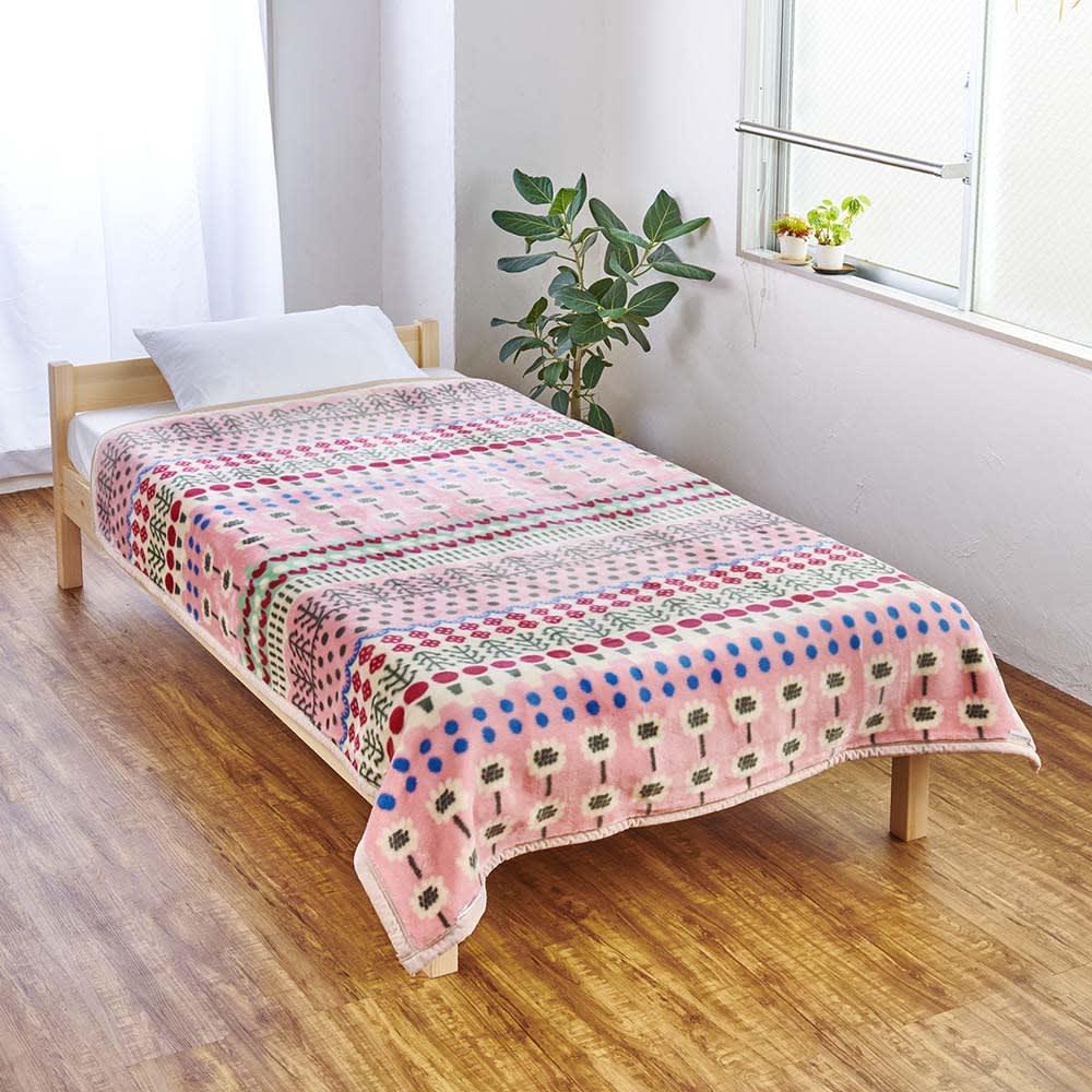 ATSUKO MATANO/アツコマタノ ニューマイヤー毛布 スペインの庭 (イ)ピンク