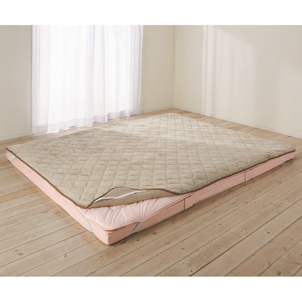 1年中快適!ぬくぬくマイクロファイバー&さらっとパイル リバーシブル敷きパッド(ファミリーサイズ:幅約160・240・320cm) (ア)グレージュ 一年中快適パッド