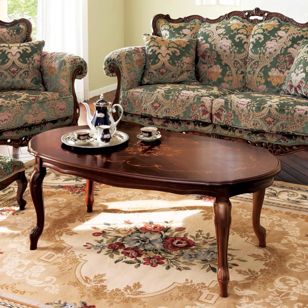イタリア製象がんシリーズ リビングテーブル 幅117.5cm リビングを華やかな空間に演出する、ロータイプのテーブルです。