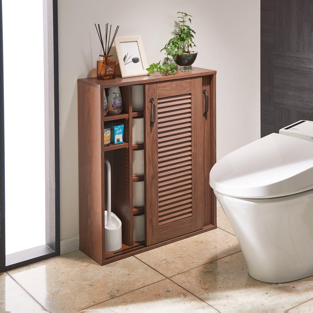 ルーバー扉トイレ収納庫 高さ75cm (イ)ダークブラウン 棚板を外せば背の高いブラシも入ります。
