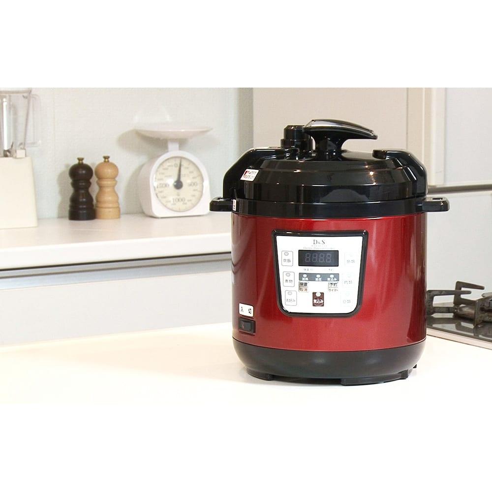マイコン式電気圧力なべ 容量2.5L (イ)レッド