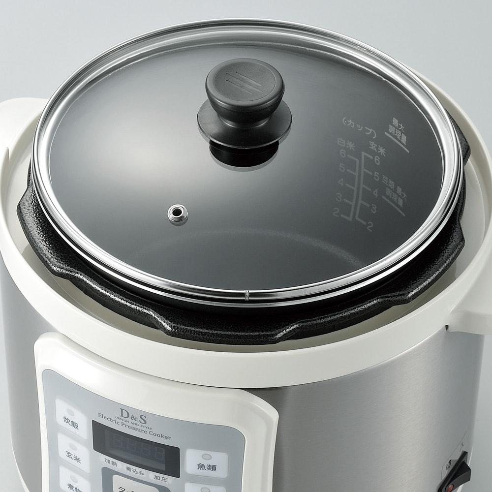 マイコン式電気圧力なべ 容量2.5L 温め直しに便利なガラスフタ付き。