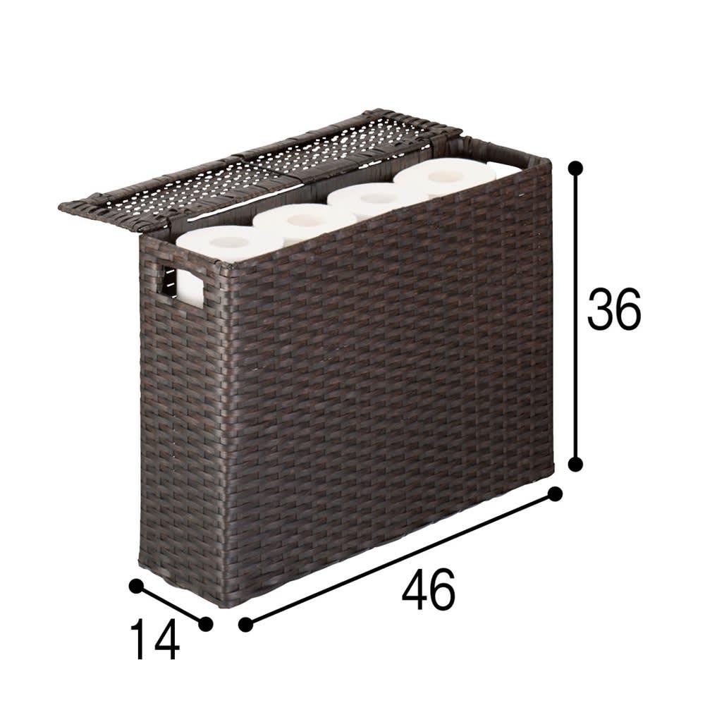 ラタン調トイレットペーパーボックス ワイドタイプ (イ)ダークブラウン スリムタイプ、ワイドタイプともに12ロールを収納可能。(単位:cm)