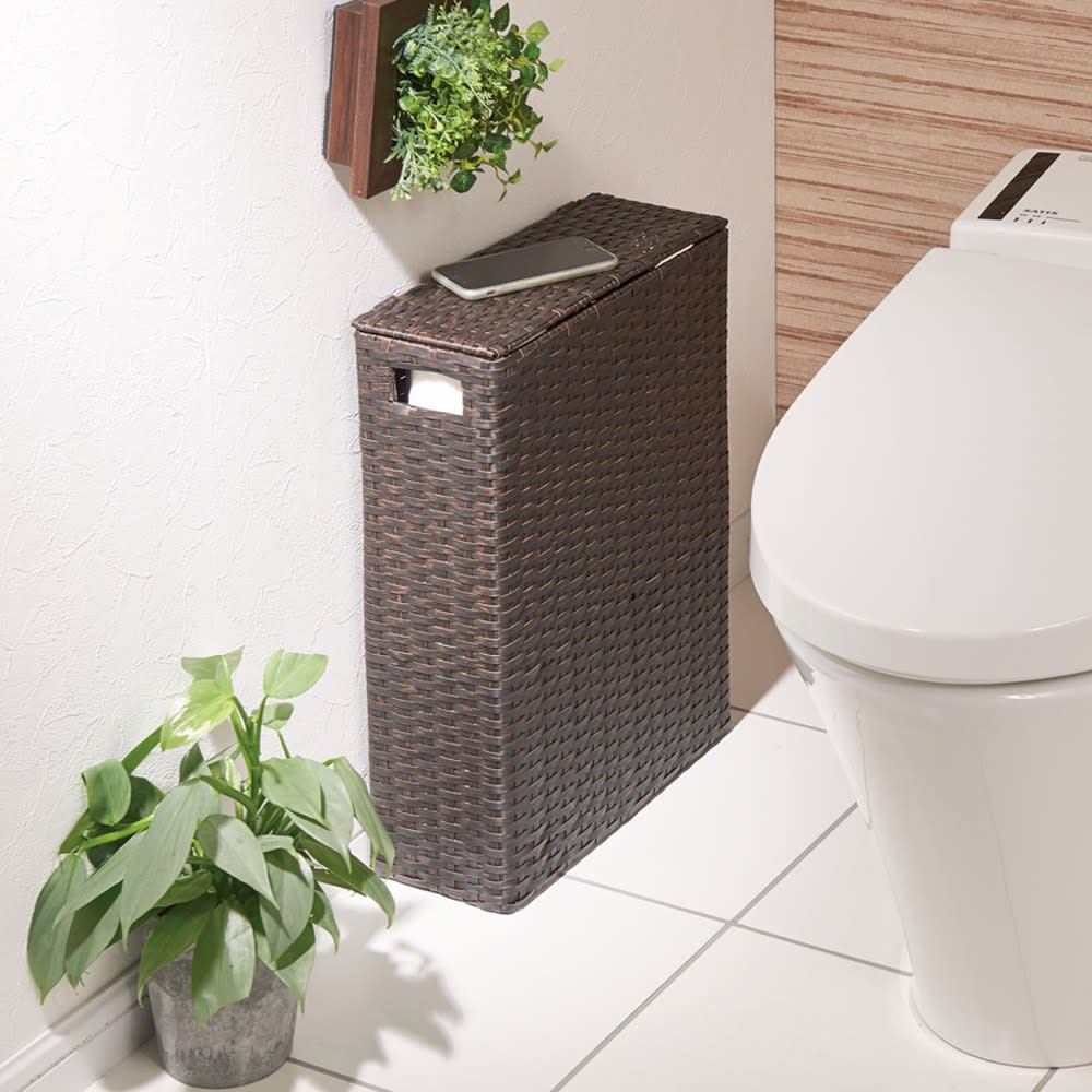 家具 収納 トイレ収納 洗面所収納 トイレラック サニタリー雑貨 ラタン調トイレットペーパーボックス スリムタイプ E04712