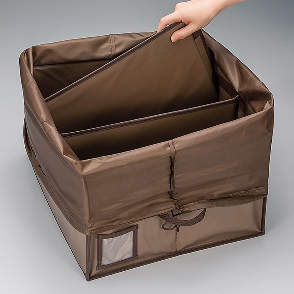 除湿消臭バッグ収納ボックス 仕切り板2枚付き。形の定まりにくい素材のバッグも支えて収納。