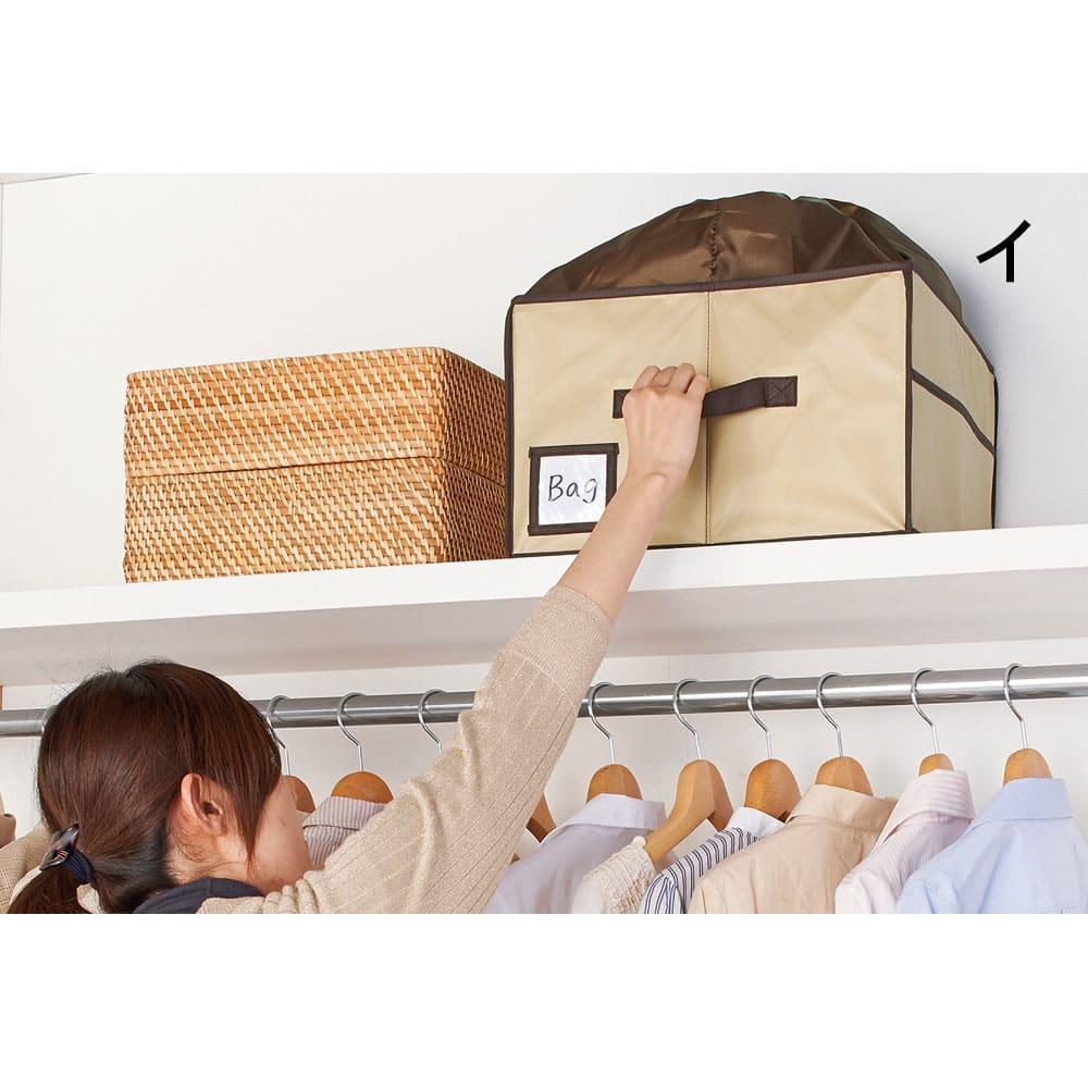 除湿消臭バッグ収納ボックス 持ち手付きだから、棚上に置いても取り出しやすい。