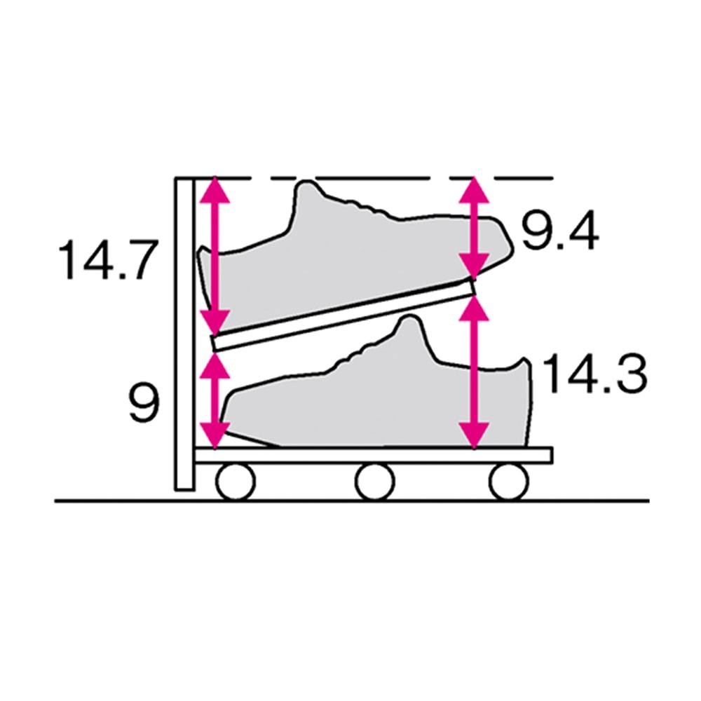 【日本製】下駄箱下木製シューズワゴン ハイ(高さ30cm) 幅100cm (単位:cm)