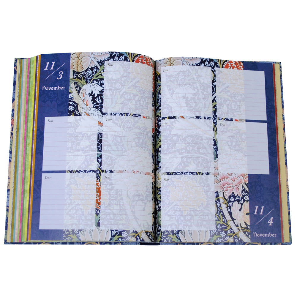 ウィリアムモリス いちご泥棒 5年日記 月によってページの色や柄が変わります。