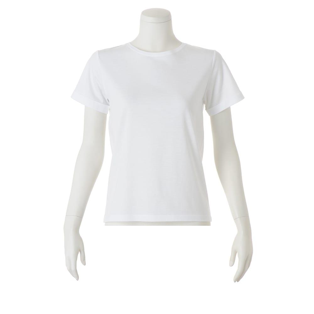 美デコルテ(R) クルーネック 半袖Tシャツ (ア)オフホワイト