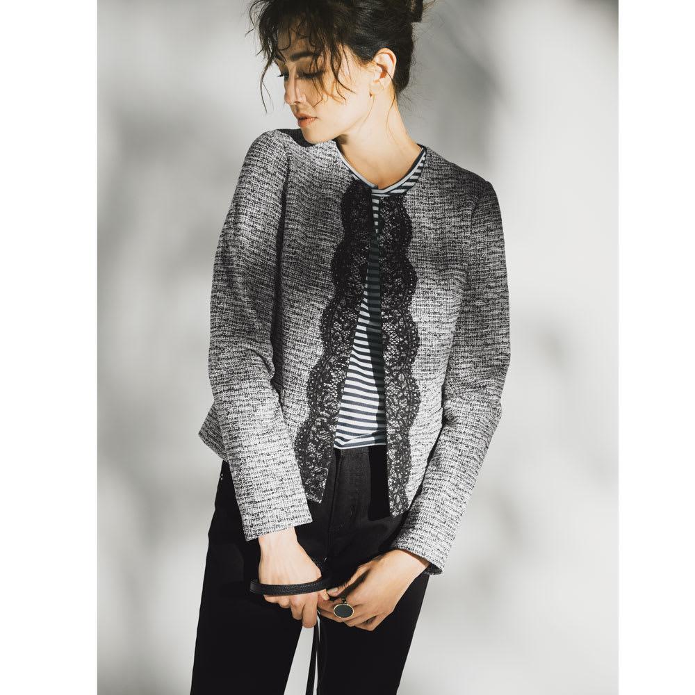 美デコルテ(R) クルーネック 半袖Tシャツ (ウ)ネイビー×オフホワイト コーディネート例