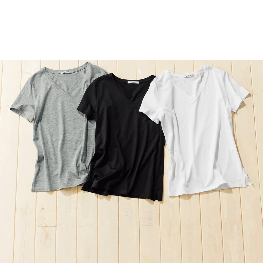 新美デコルテ(R) 合わせ細V開き 半袖Tシャツ 左から(ウ)グレー (ア)ブラック (イ)オフホワイト
