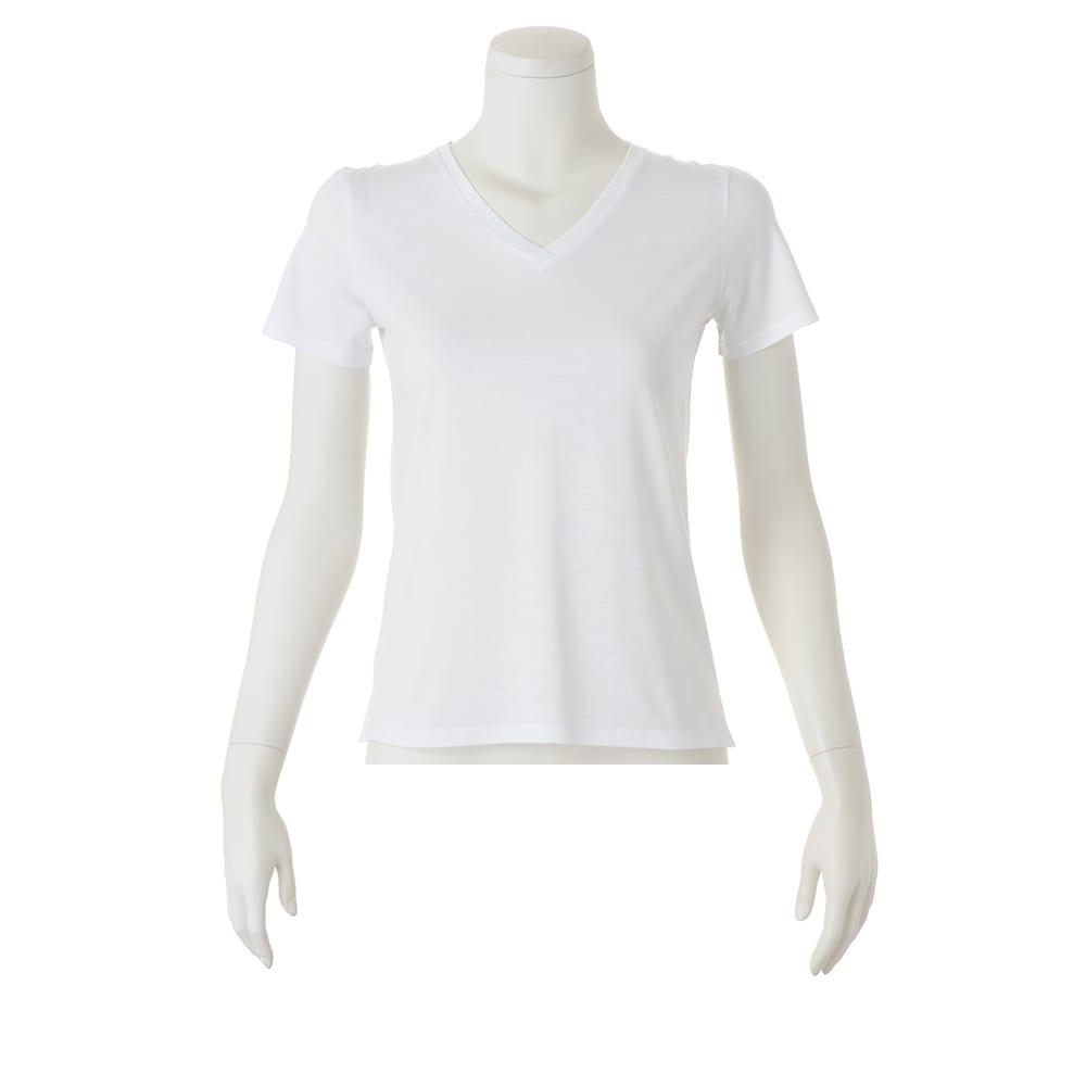 新美デコルテ(R) 合わせ細V開き 半袖Tシャツ (イ)オフホワイト