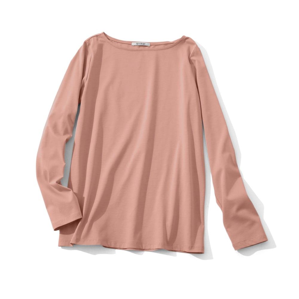 ロイヤルサーラ糸 シリーズ ボートネック プルオーバー (イ)ピンク