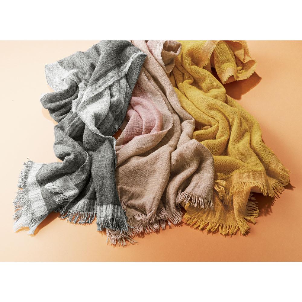PAOLO MARIANI/パオロマリアーニ カシミヤ混 配色ストール(イタリア製) 左から(ウ)グレー (ア)ピンク (イ)イエロー