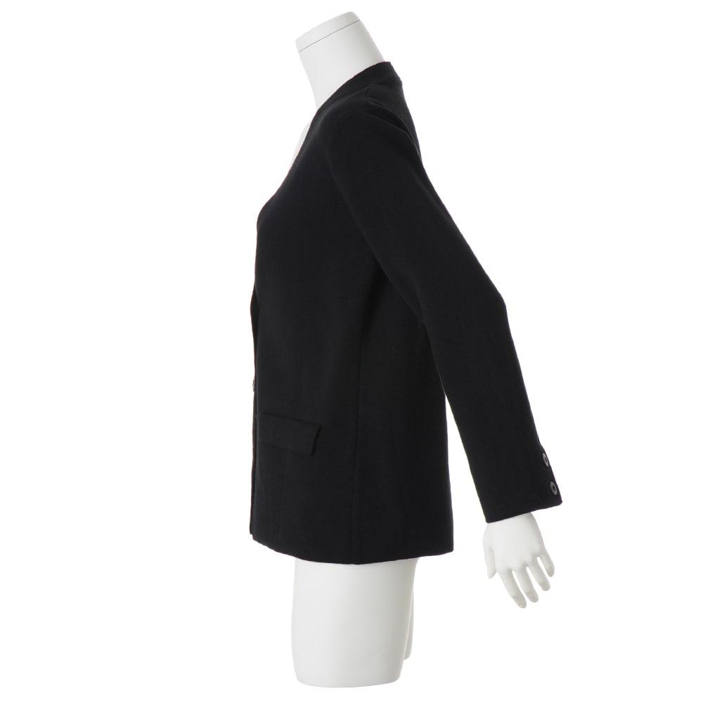 シルク混UVカット ミラノリブノーカラー ニットジャケット