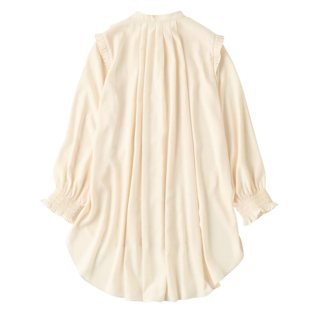 フリルピンタック チュニックシャツ Back Style