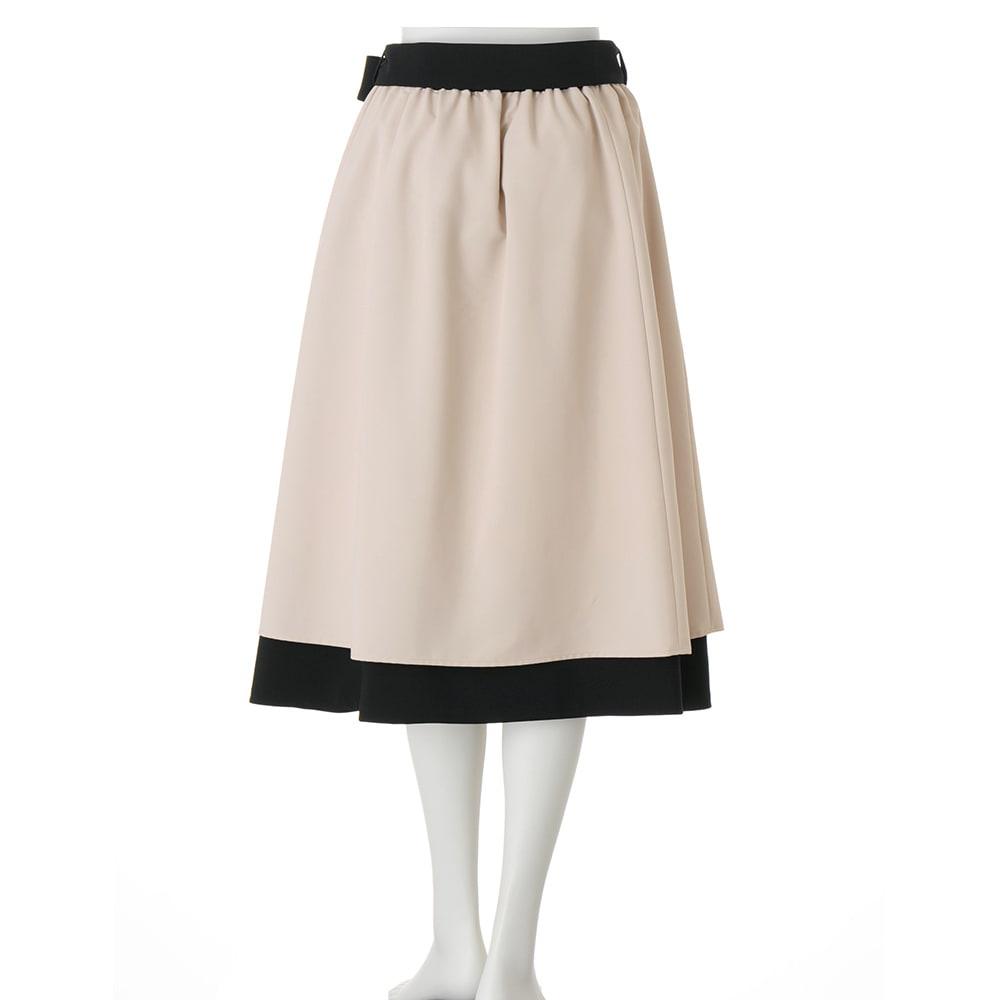 フラワー×無地プリント リバーシブル スカート