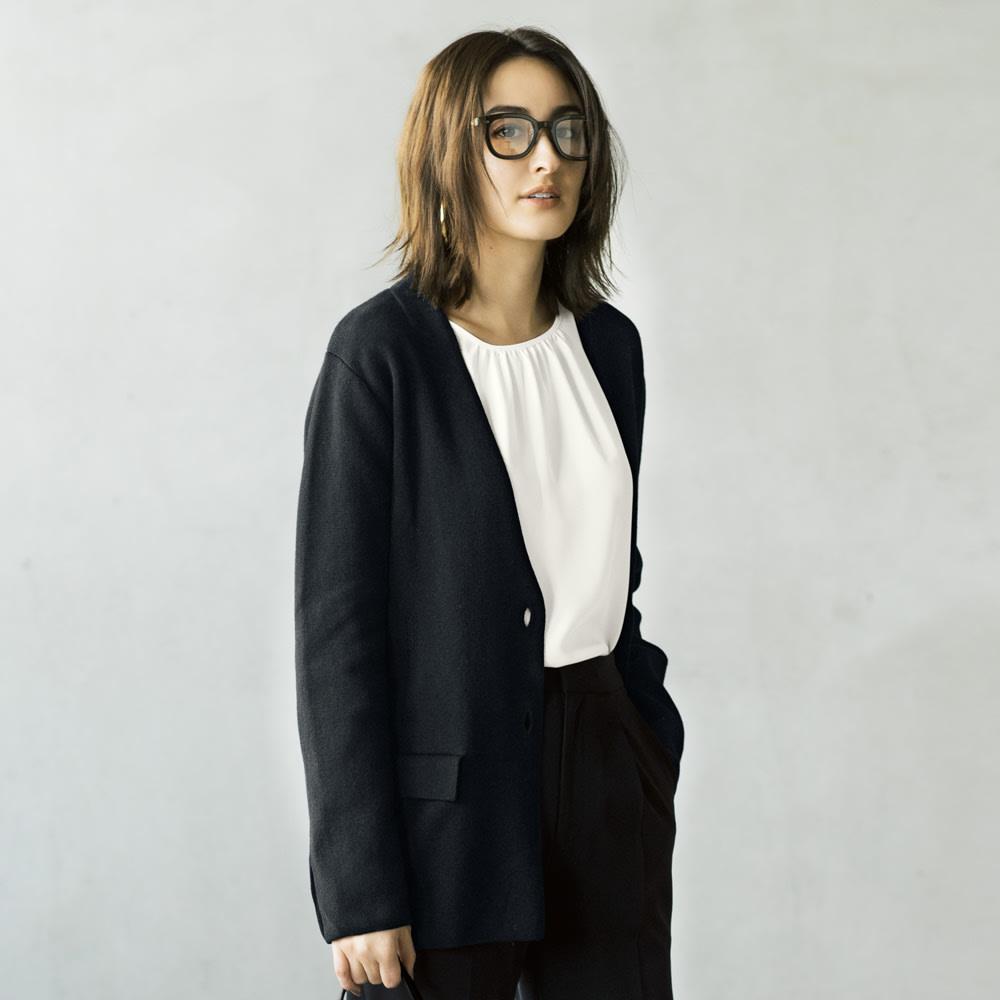 シルク混UVカット ミラノリブノーカラー ニットジャケット コーディネート例