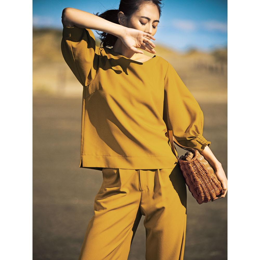 麻調ツイルシリーズ お得なセット(タック&シャーリング袖ブラウス+8分丈セミワイドパンツ) コーディネート例