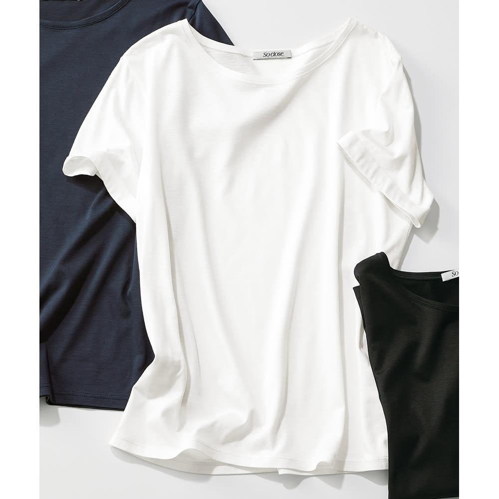 美デコルテ(R) クルーネック半袖Tシャツ (ア)オフホワイト