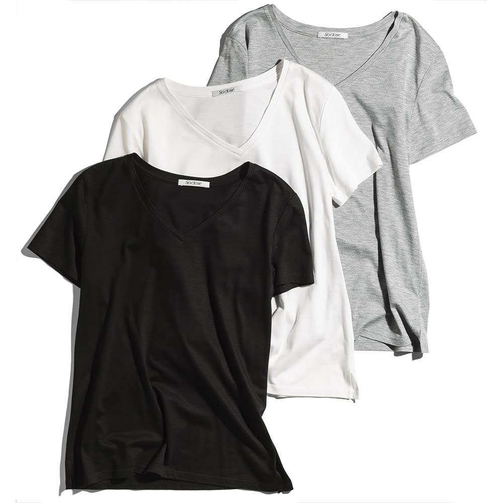 新美デコルテ(R) 合わせ細V開き半袖Tシャツ 左から(ア)ブラック (イ)オフホワイト (ウ)グレー