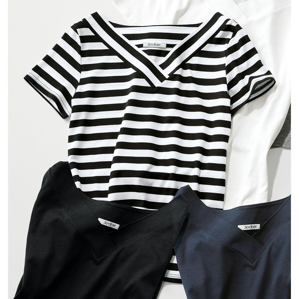 新美デコルテ(R) 合わせV開き半袖Tシャツ (エ)ブラック×オフホワイト