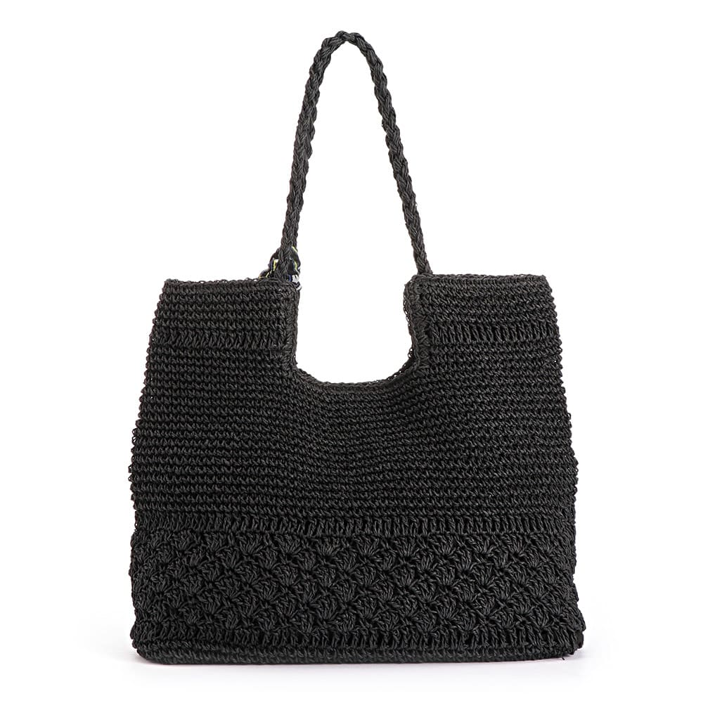 透かし編み ペーパートートバッグ (ウ)ブラック