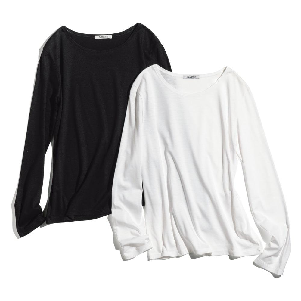 美デコルテ(R) ラウンドネック 長袖プルオーバー 左から(イ)ブラック (ア)オフホワイト