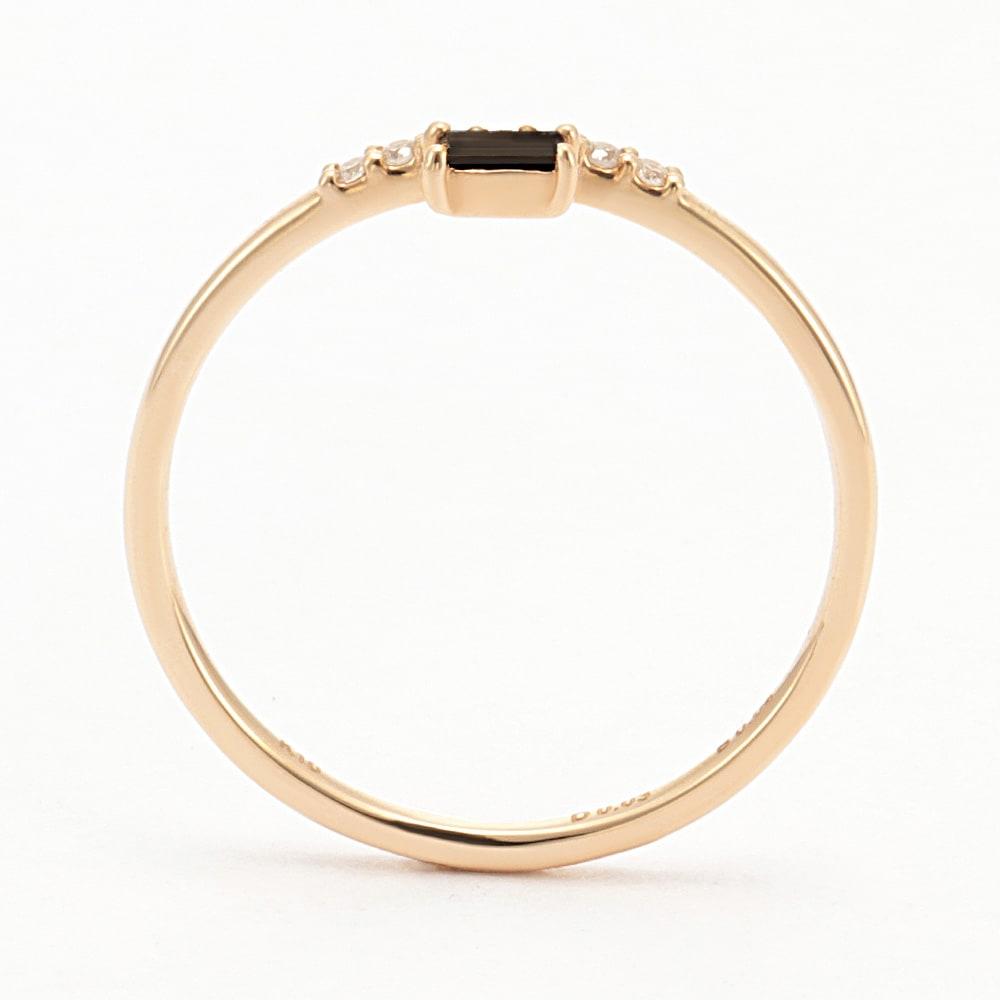 K10 ブラックダイヤ デザインリング