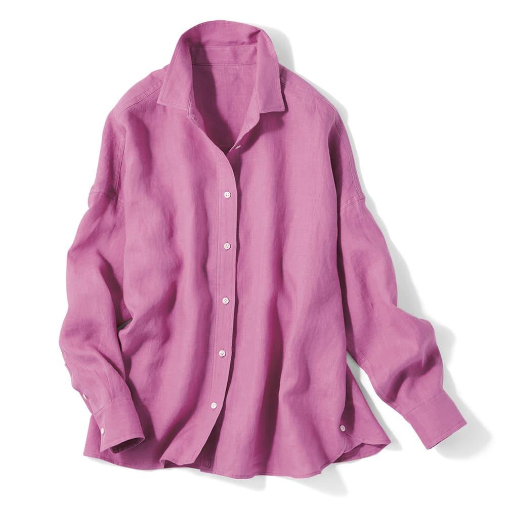 フレンチリネン 2ウェイシャツ (ア)パープルピンク