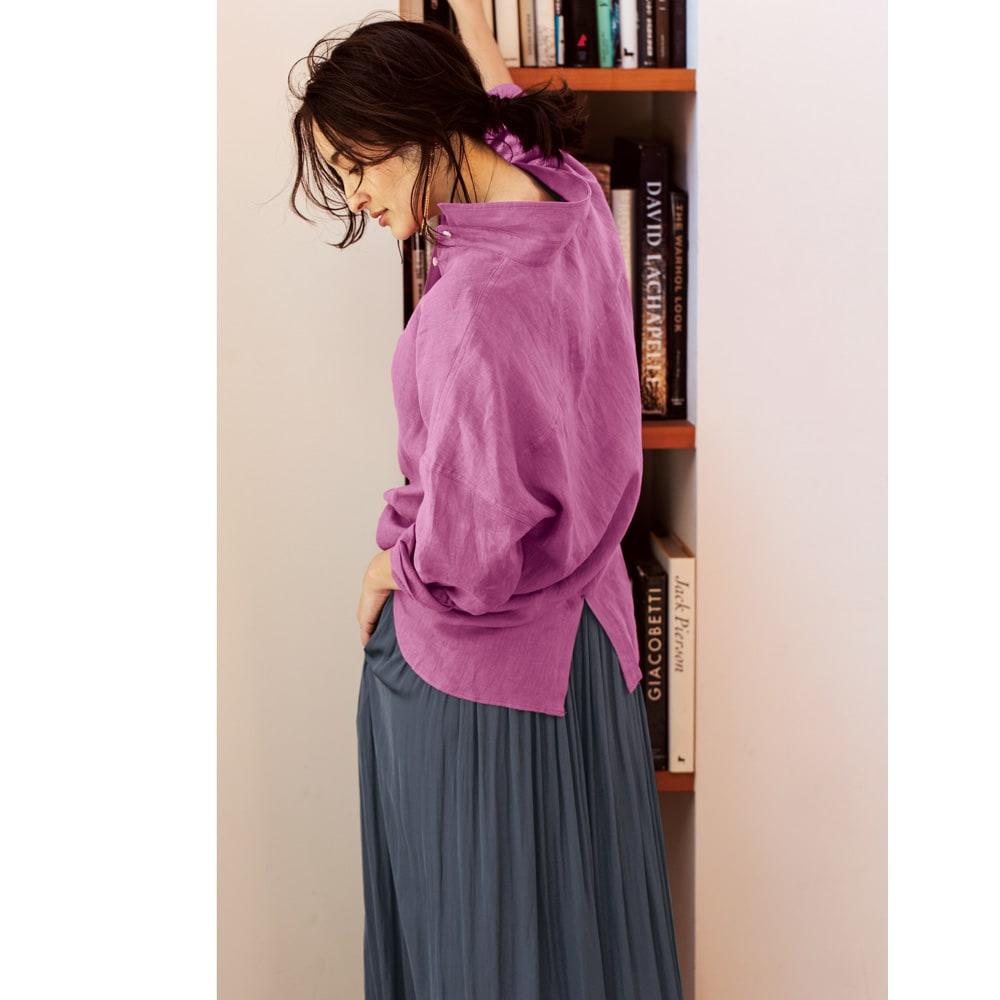 フレンチリネン 2ウェイシャツ (ア)パープルピンク コーディネート例