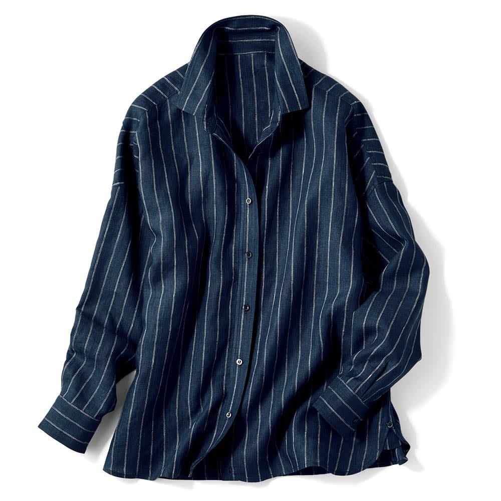 フレンチリネン 2ウェイシャツ (ウ)ネイビー×オフホワイトストライプ