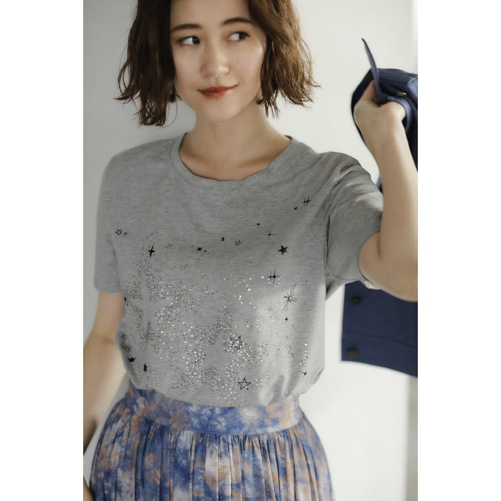 ラインストーン半袖Tシャツ (イ)モクグレー コーディネート例