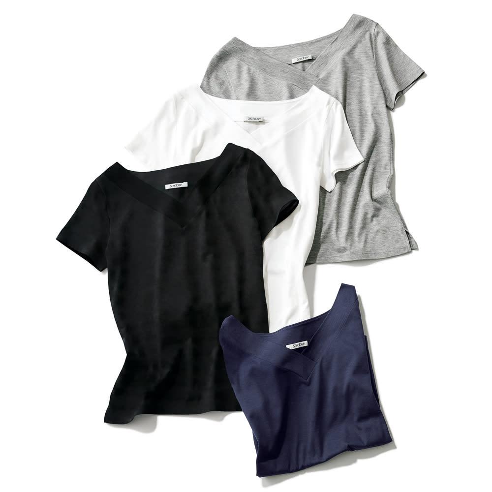 新美デコルテ(R) 合わせV開き 半袖Tシャツ 上から(ア)グレー (イ)オフホワイト (ウ)ブラック (エ)ネイビー
