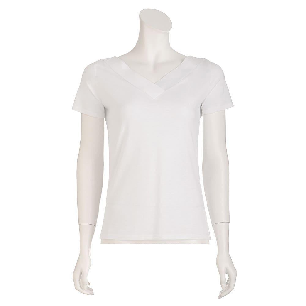 新美デコルテ(R) 合わせV開き 半袖Tシャツ (イ)オフホワイト