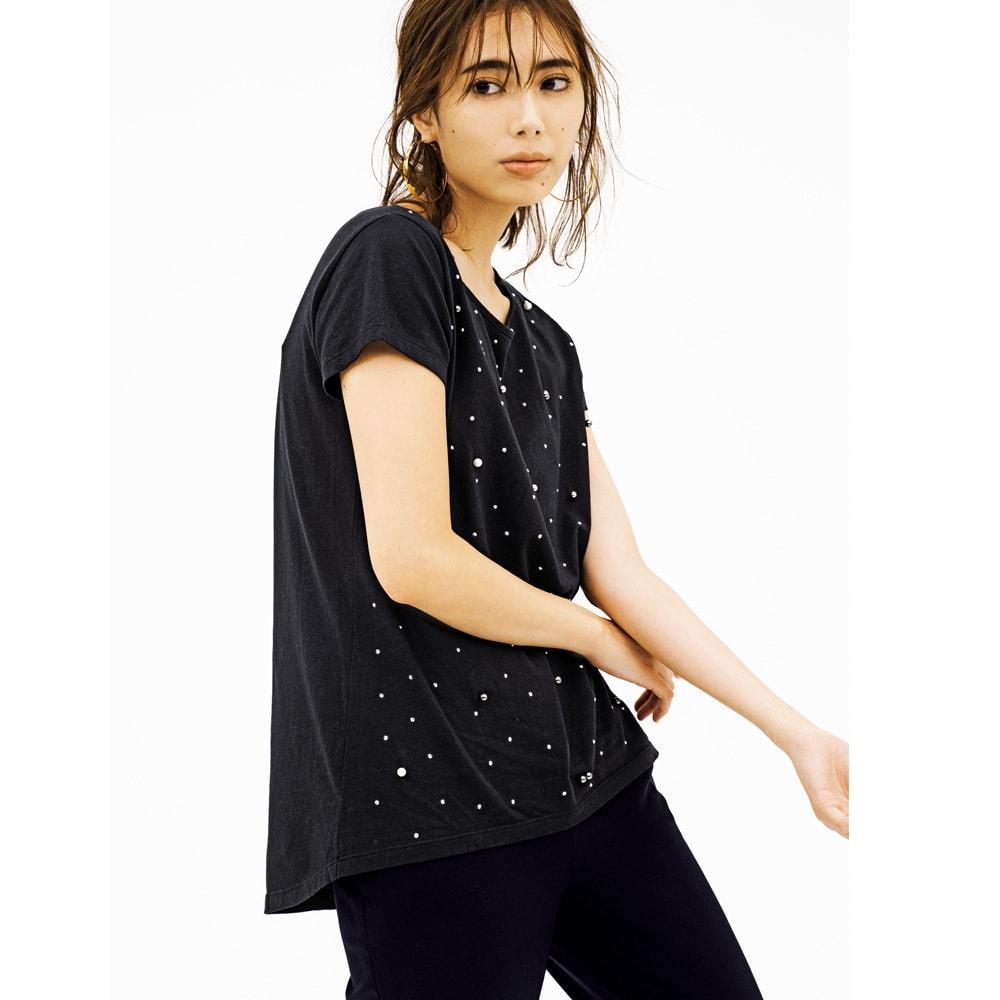 裾スリットデザイン クロップトパンツ (イ)ブラック コーディネート例