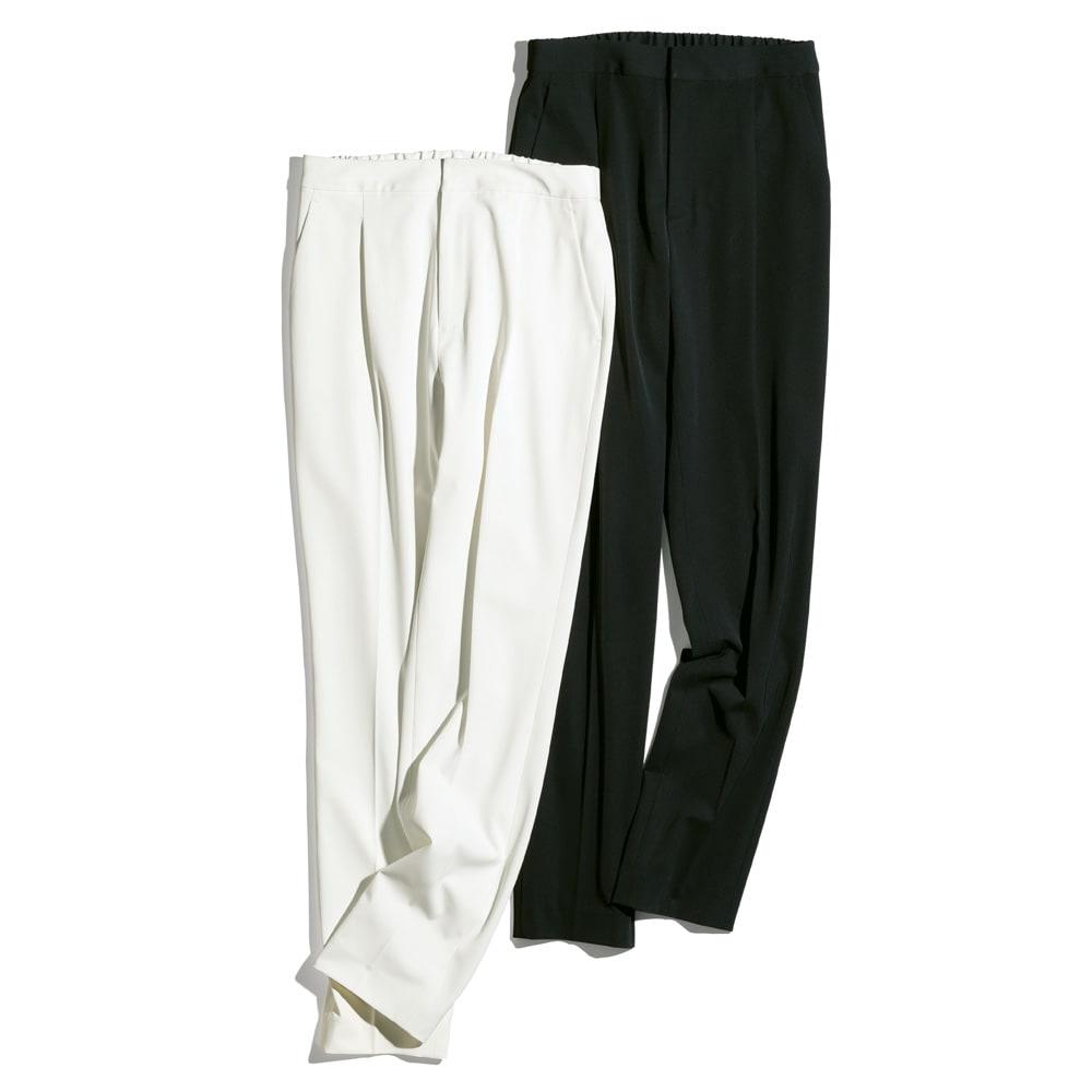多機能素材 9分丈腰高パンツ 左から(ア)オフホワイト (イ)ブラック