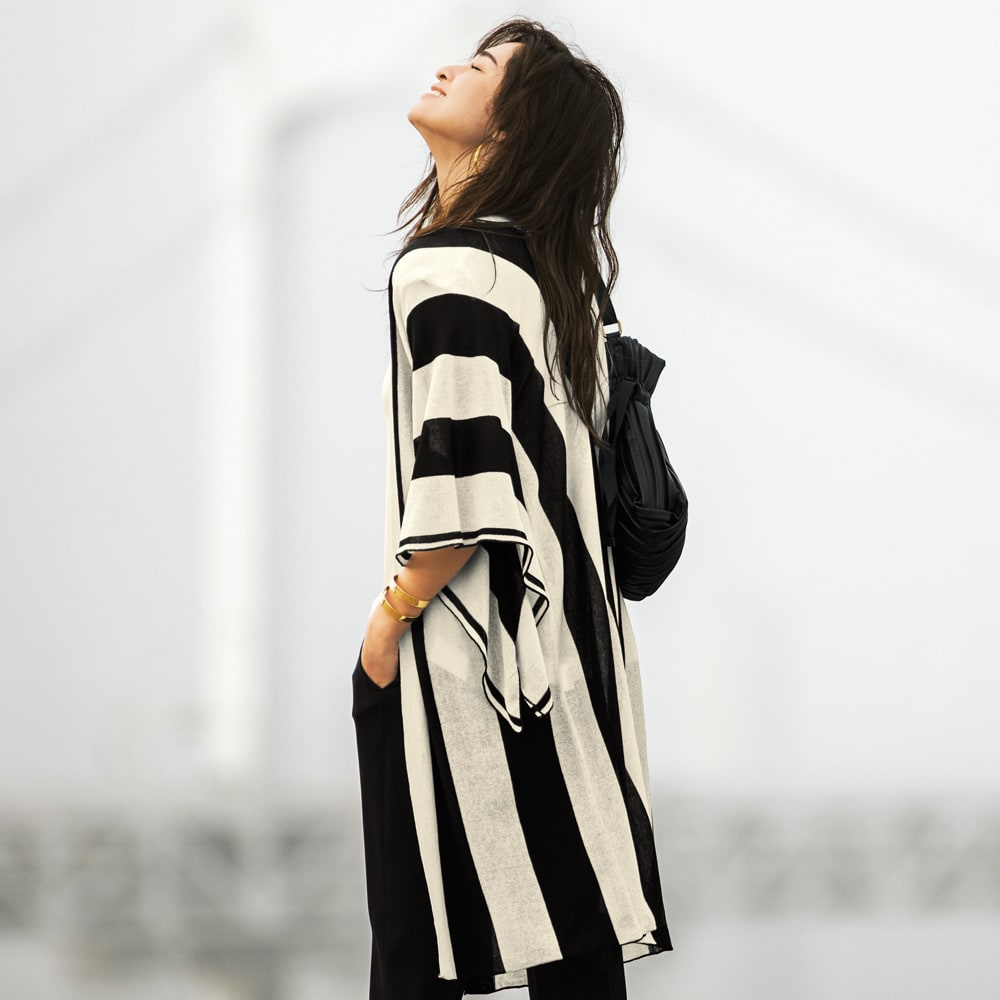 多機能素材 9分丈腰高パンツ (イ)ブラック コーディネート例