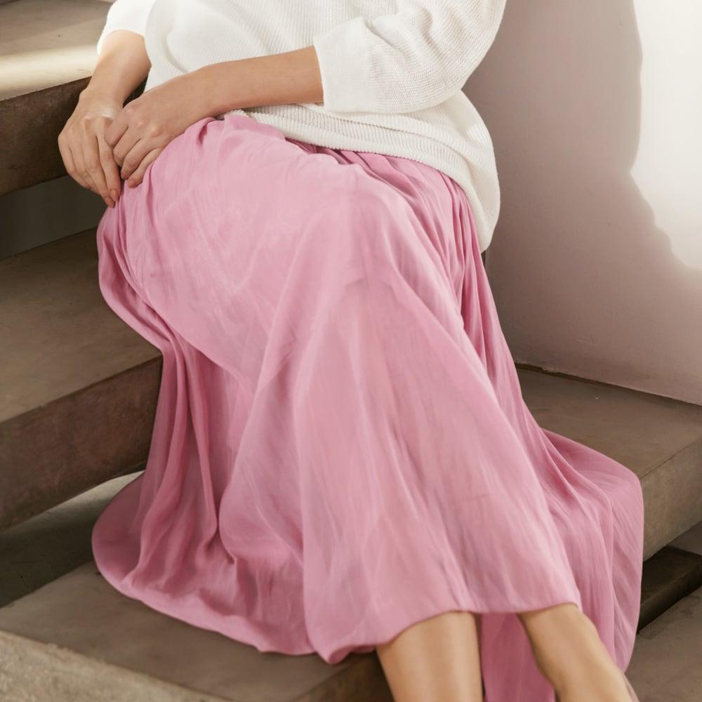 エアリーフロー きれい色スカート (ア)ピンク コーディネート例