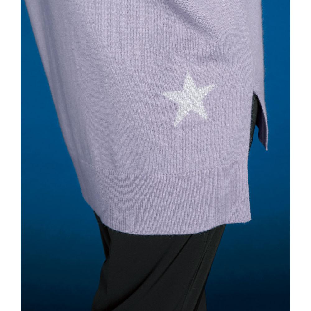 流れ星デザイン ニットチュニック Back Style コーディネート例