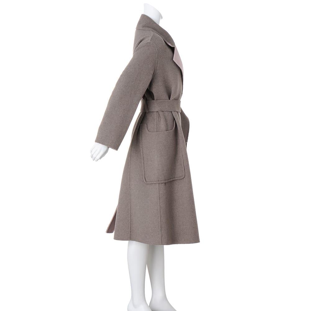 リバー仕立て ウール混ロングコート