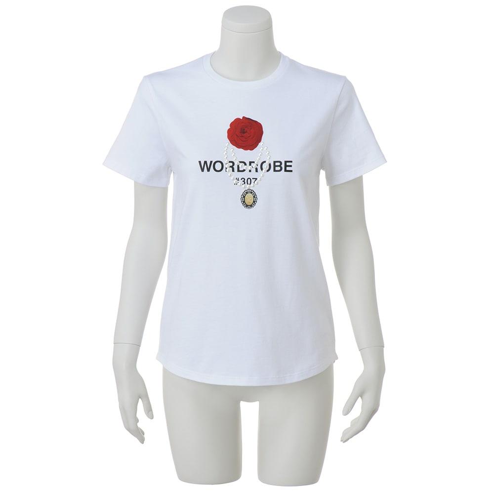 WORDROBE/ワードローブ デコライズTシャツ (ア)ホワイト