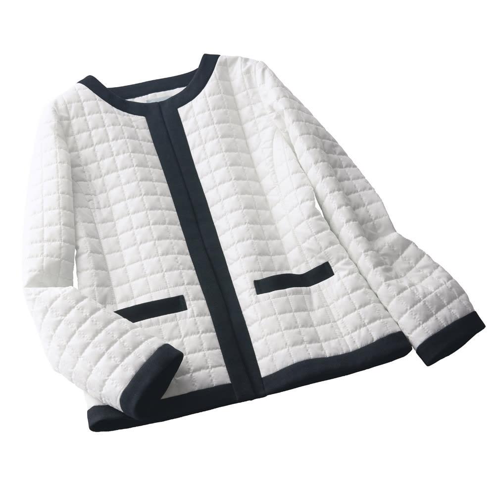 はっ水機能 中わたキルティング 配色ジャケット オフホワイトXブラック S 【レディース・女性】