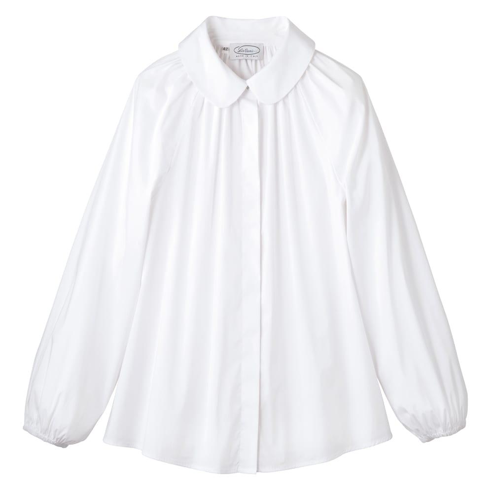 La Camicia/ラ カミーチャ 丸襟ブラウス(イタリア製) (イ)ホワイト