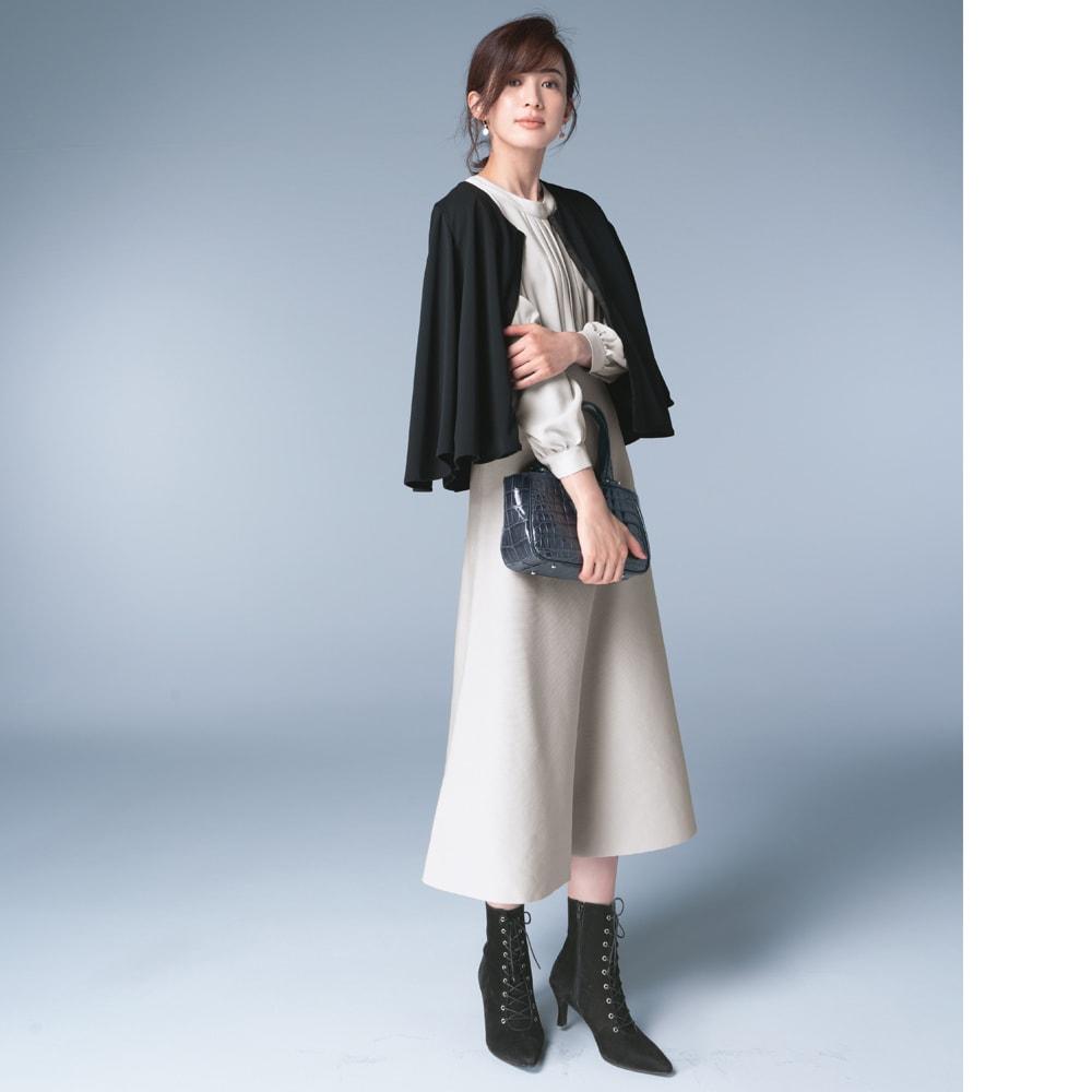 フォーマル対応 ケープ風カーディガン(日本製) ドレープ感が際立つケープ風に着こなしてワンピースをより品よくリッチに コーディネート例