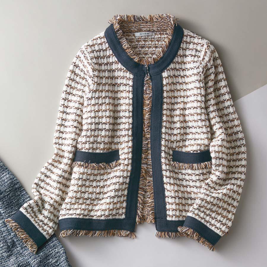 ジャカード編みフリンジ ニットジャケット