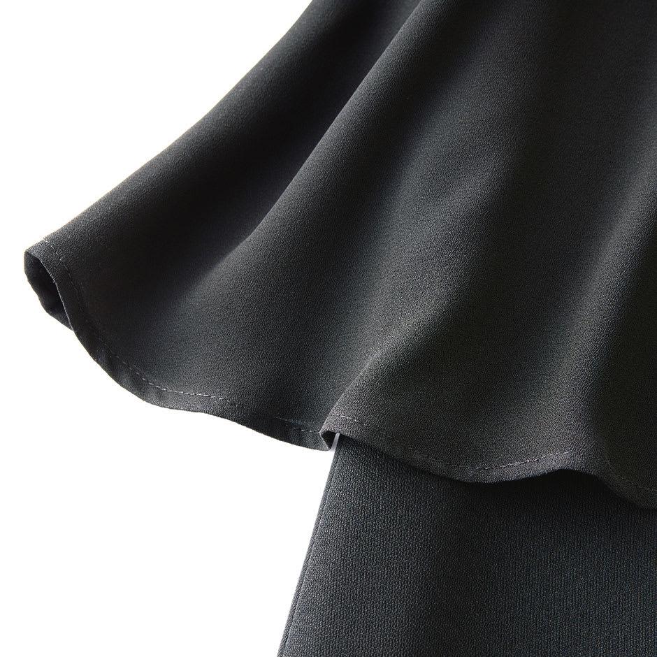 【ブラックフォーマル】 洗えるレイヤード風ワンピース