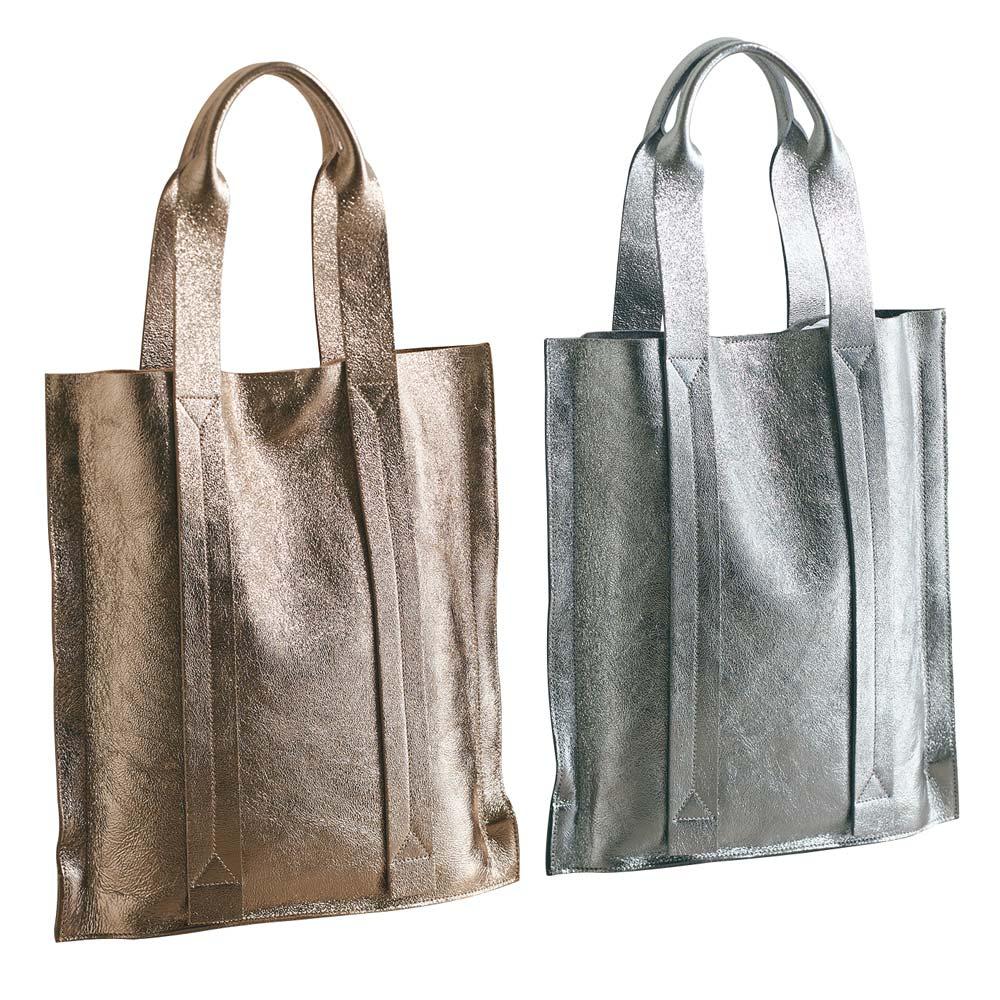 LAURA DI MAGGIO(R)/ラウラ ディ マッジオ 一枚革トートバッグ(イタリア製) 左から(ア)ブロンズ (イ)シルバー
